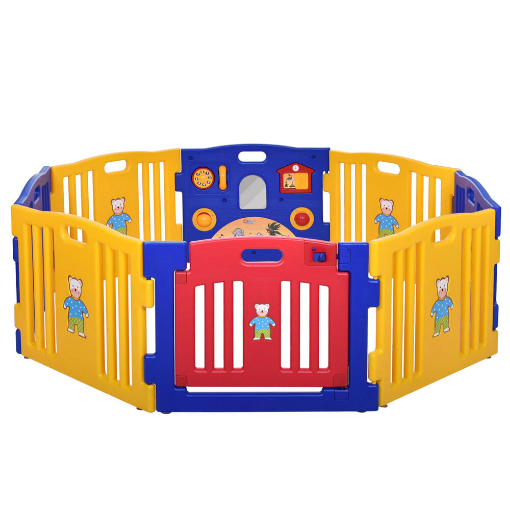 New baby playpen kids 8 panel safety play center yard home for Baby play centre