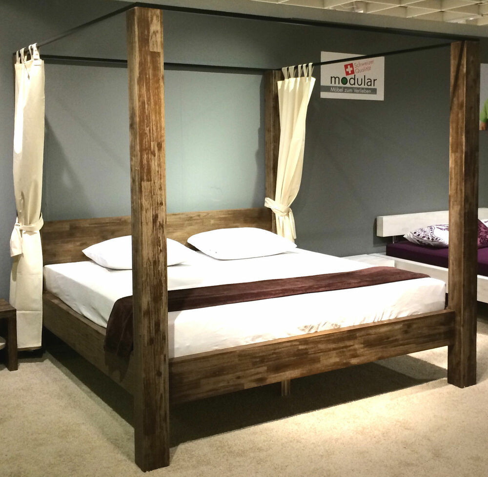 himmelbett designerbett holzbett bett 140x200 akazie massiv holz teak braun ebay. Black Bedroom Furniture Sets. Home Design Ideas