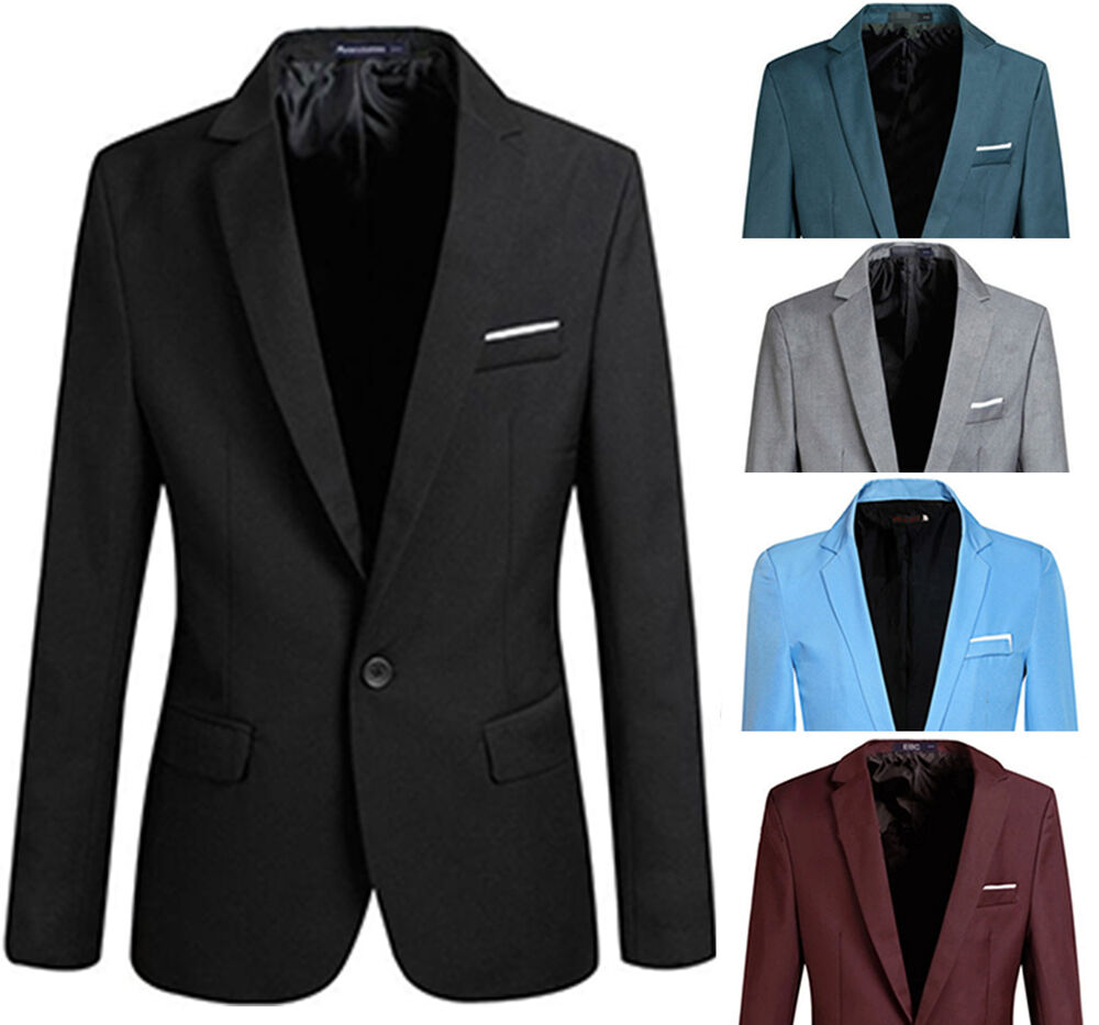 Blazers Jackets Mens: Men Stylish Slim Fit One Button Blazers Lightweight Casual