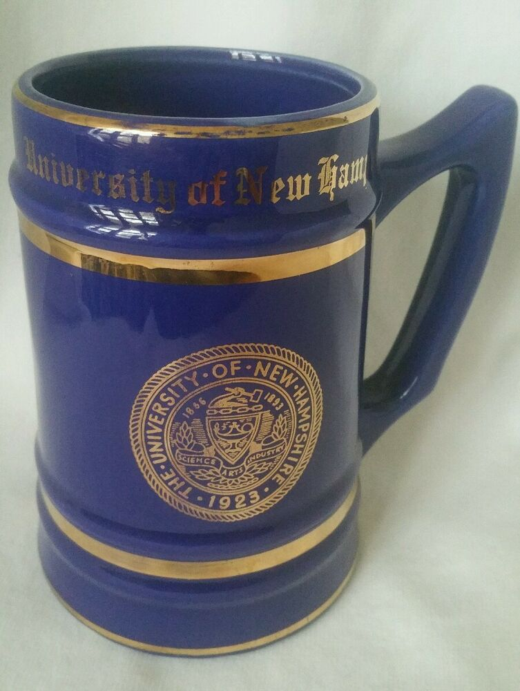 vintage navy blue and gold university of new hampshire beer stein mug ebay. Black Bedroom Furniture Sets. Home Design Ideas