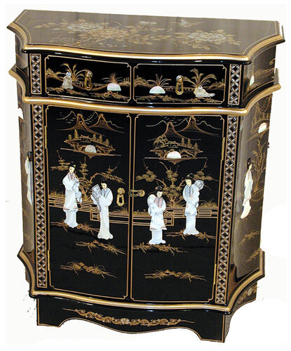 mother of pearl oriental furniture black lacquer shaped cabinet ebay. Black Bedroom Furniture Sets. Home Design Ideas