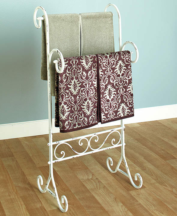 bathroom metal towel stand vintage shabby chic distressed
