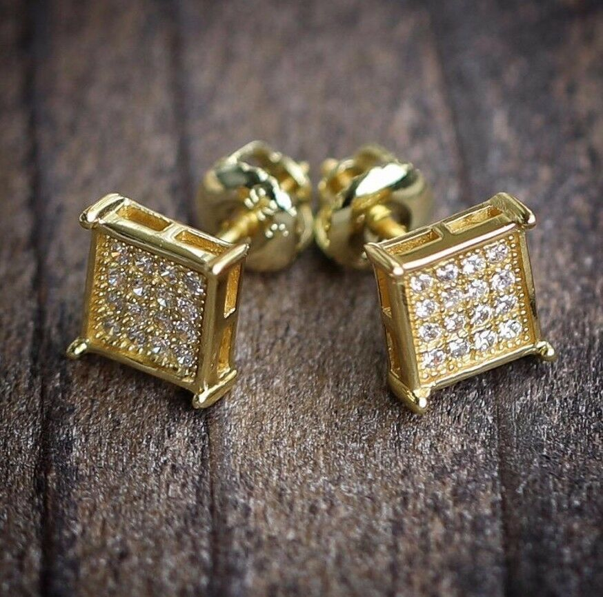 Mens small 14k gold square stud earrings with screw on for Men s jewelry earrings