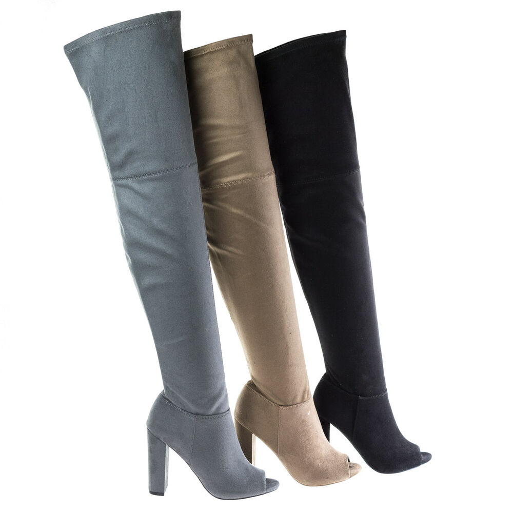 morris58 peep toe the knee thigh high suede boots on