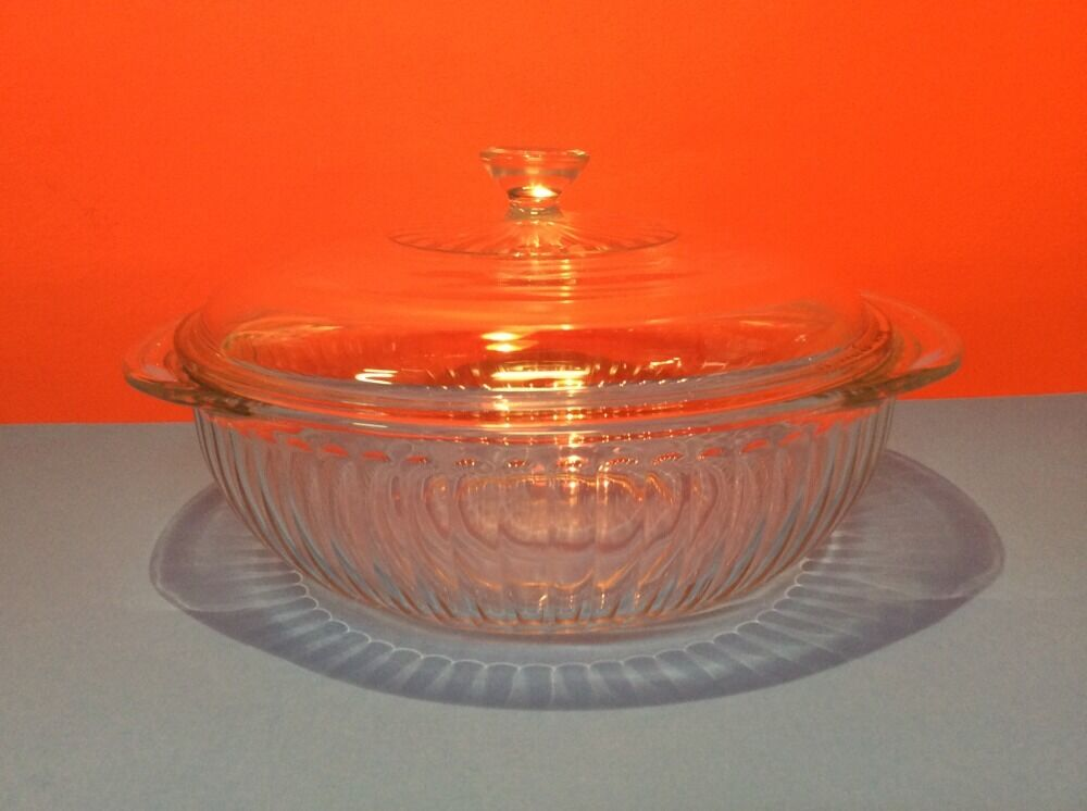 pyrex clear glass 2 qt ribbed casserole dish with lid 024 s ebay. Black Bedroom Furniture Sets. Home Design Ideas