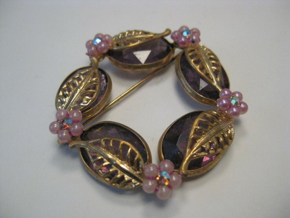 Vintage Gold Tone Pink & Purple Floral Circle Brooch, Open ...