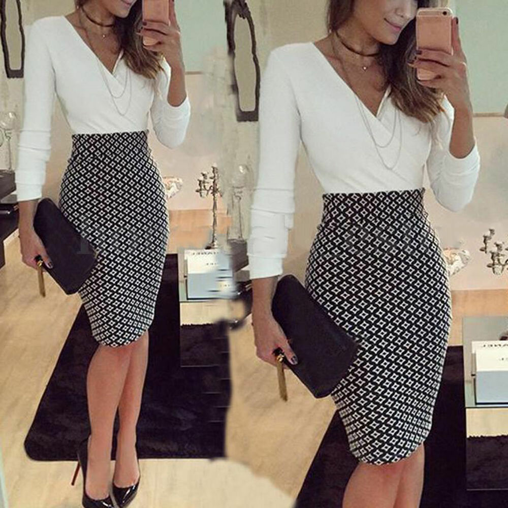 women office formal business stretch cocktail party evening slim pencil dress ebay. Black Bedroom Furniture Sets. Home Design Ideas