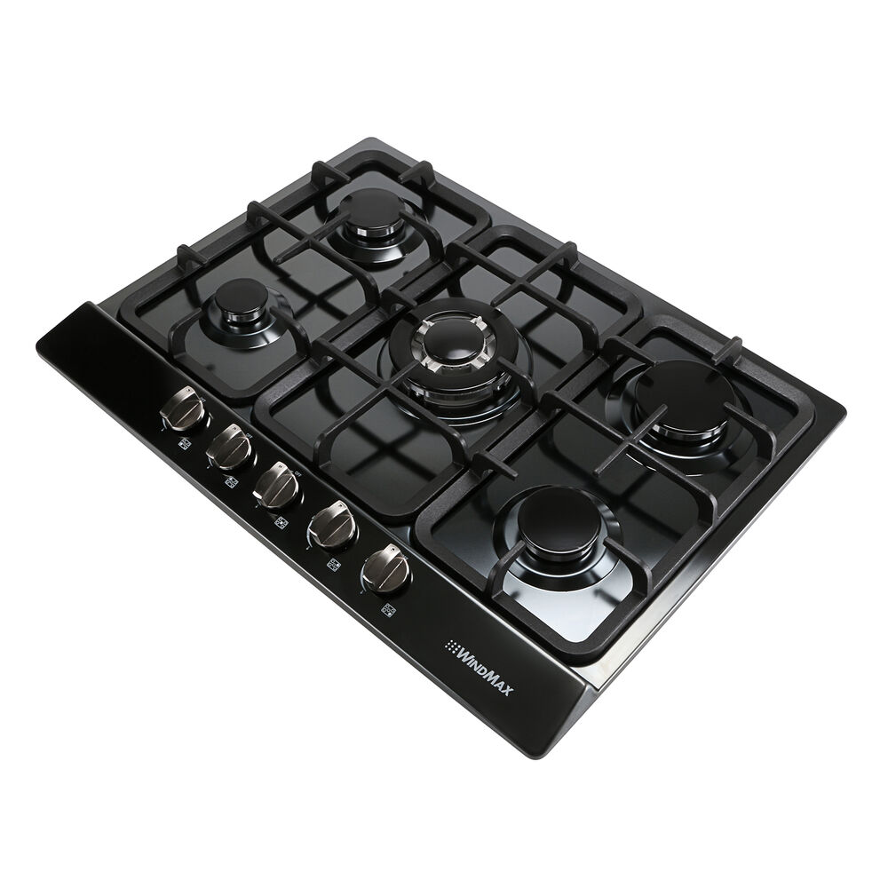 5 Burner Gas Cooktops: 68cm 5 Burner Black Stainless Steel Gas Cooktop Hob & Cast