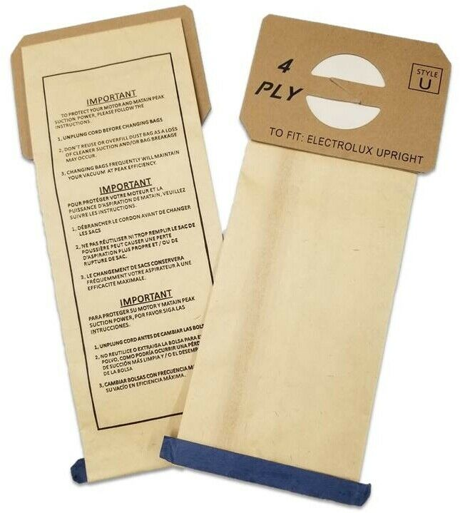 12 Electrolux Upright Style U Allergy Vacuum Bags Made In
