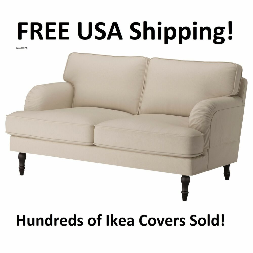 ikea stocksund loveseat 2 seat sofa cover slipcover nolhaga light beige new ebay. Black Bedroom Furniture Sets. Home Design Ideas