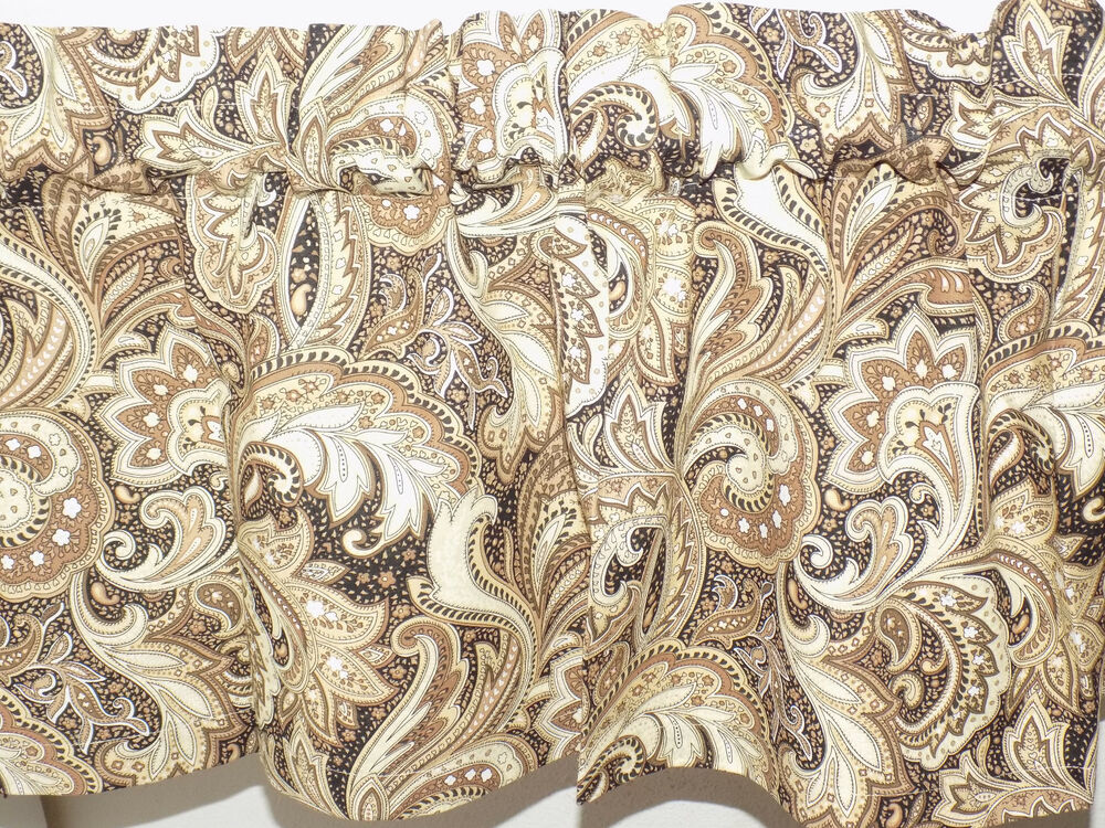 Handmade Black Brown Paisley Scroll Window Curtain Valance