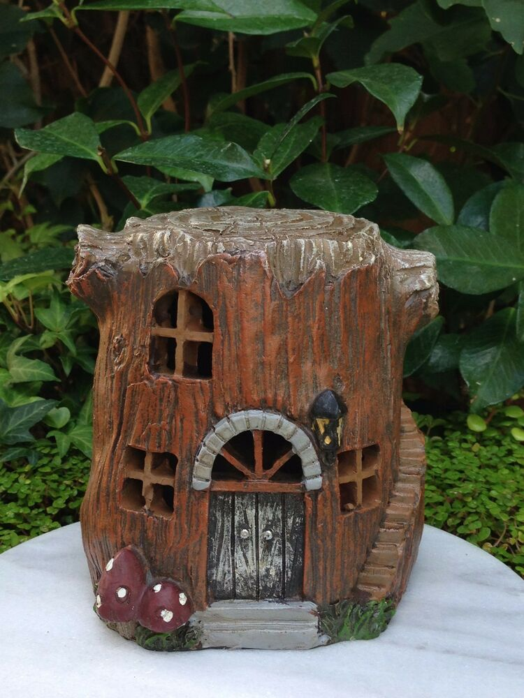 Miniature fairy garden house small tree stump house for How to make illuminated tree stumps