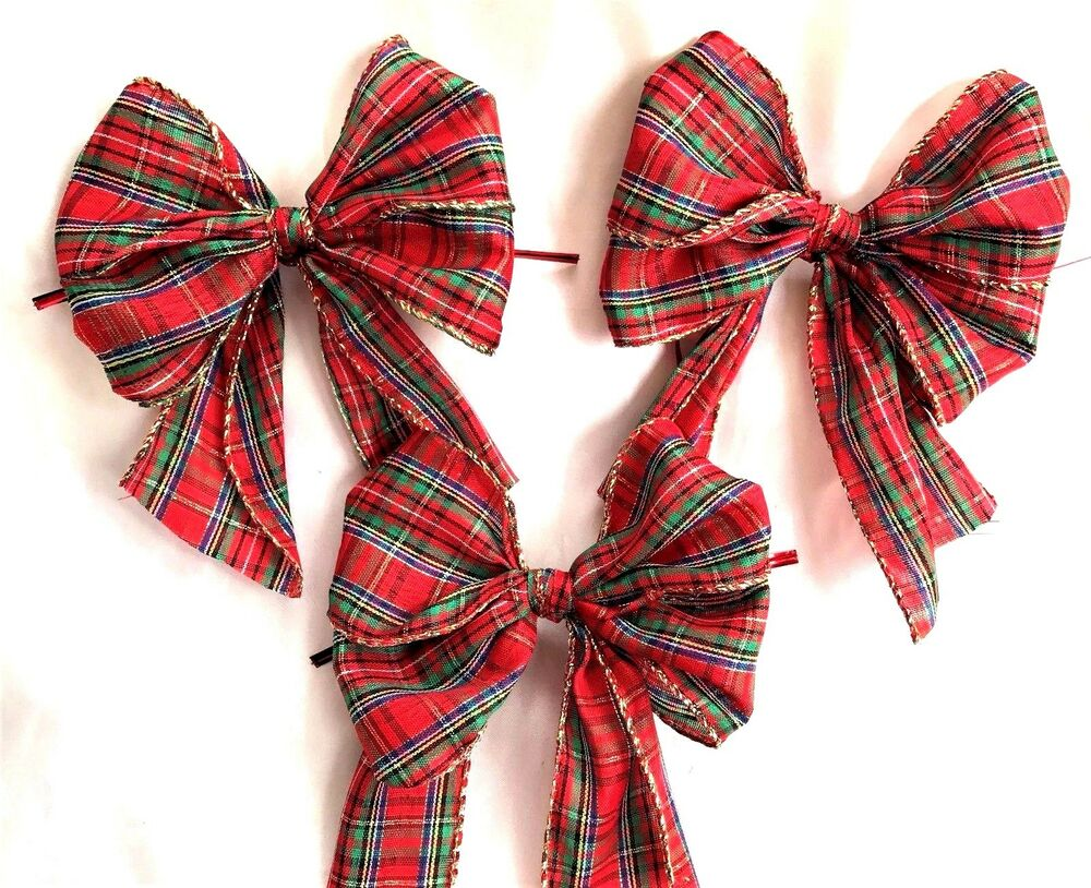 10 x red tartan with gold wired edge christmas tree bows. Black Bedroom Furniture Sets. Home Design Ideas
