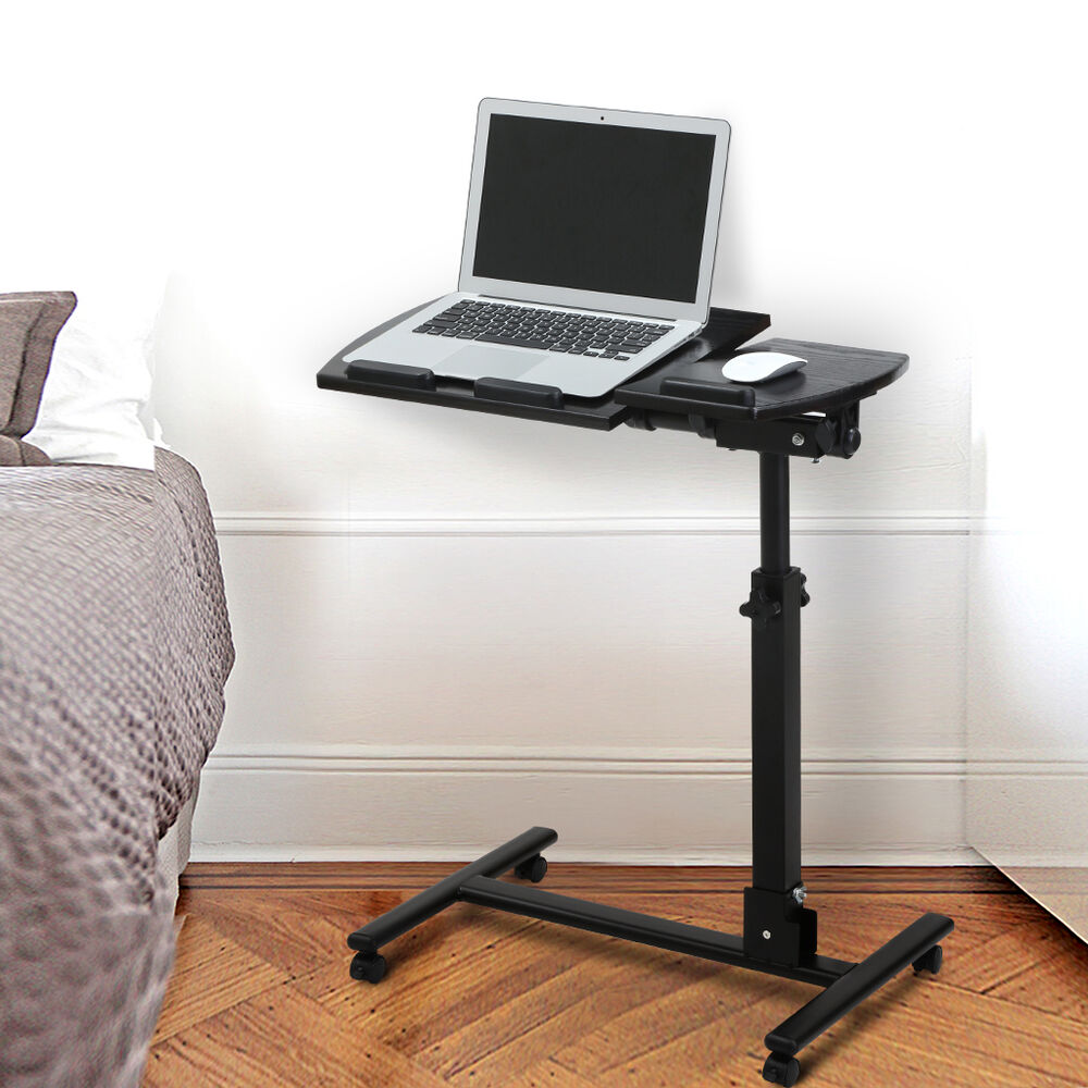 Rolling Laptop Cart Mobile Stand Desk Notebook Height