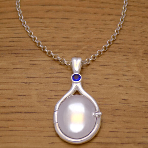 925 Sterling Silver H2O Just Add Water Mermaids Blue CZ Locket Necklace & Chain