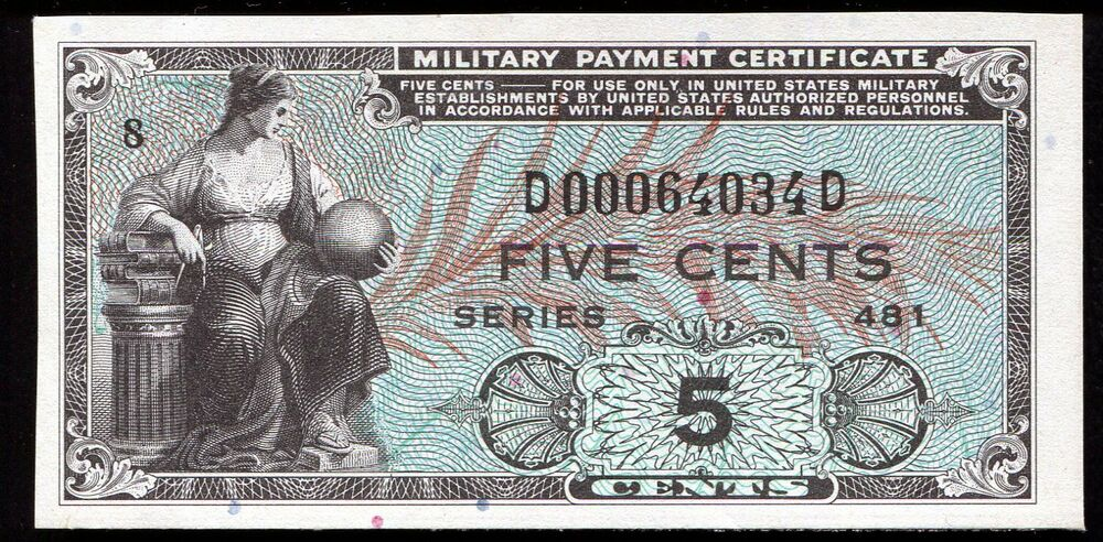 Series 481 5 Five Cents Mpc Military Payment Certificate Gem