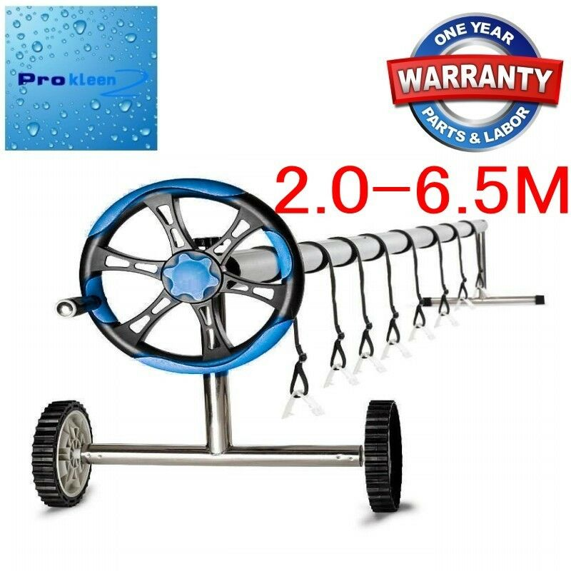 Adjustable Reel Swimming Pool Solar Blanket Cover Roller W Wheels 12m Wnty Ebay