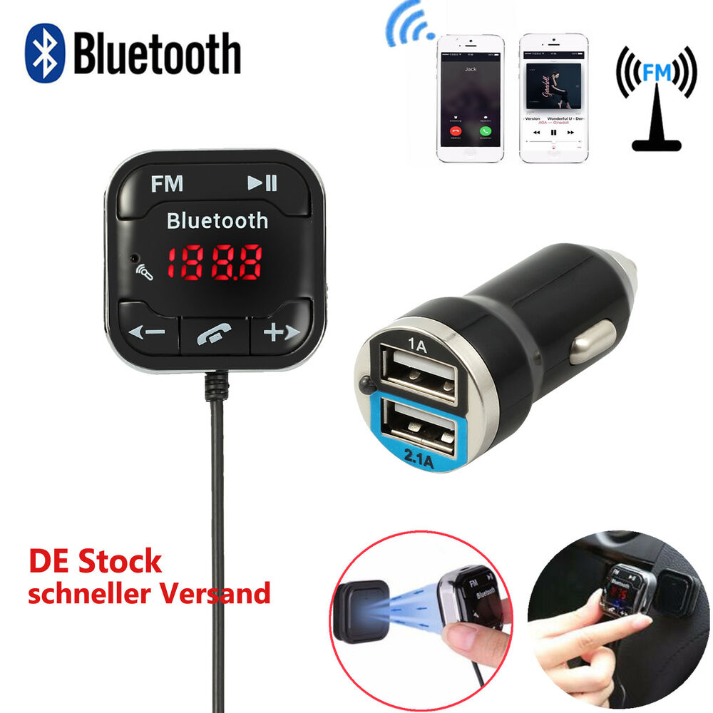 bluetooth fm transmitter auto kfz sd musik mp3 player usb. Black Bedroom Furniture Sets. Home Design Ideas