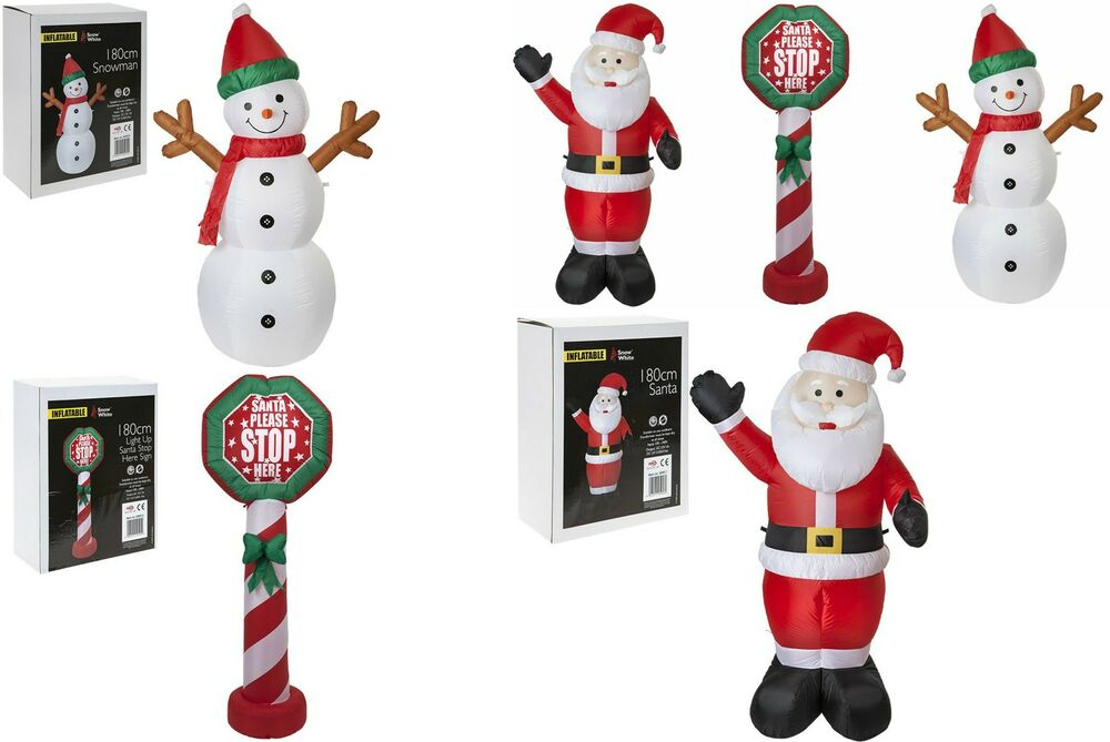 180cm Inflatable Snowman Father Christmas Santa Stop Here