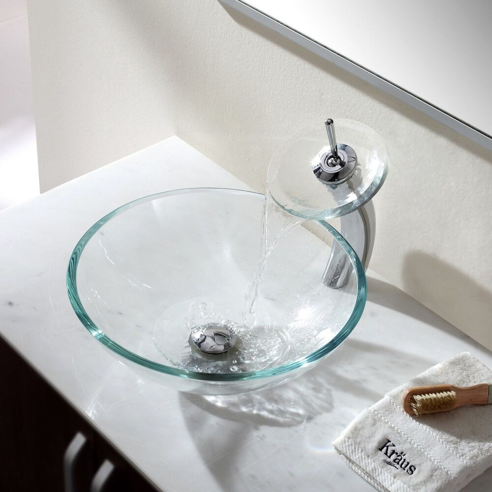 glass bathroom vessel sinks bathroom glass vessel sink drain faucet clear tempered 18470 | s l1000