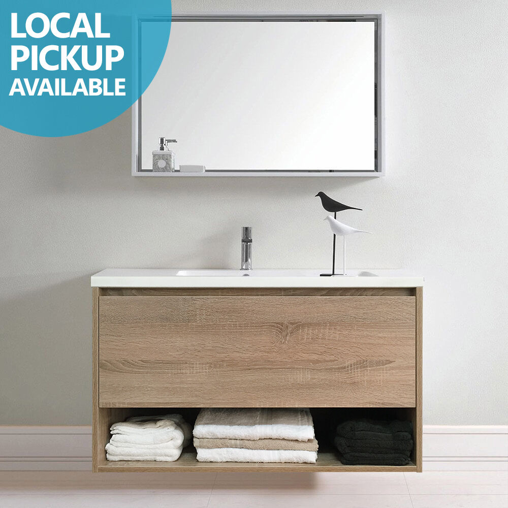 Eden 900mm White Oak Timber Wood Grain Wall Hung Vanity W Towel Shelf Polymarble Ebay