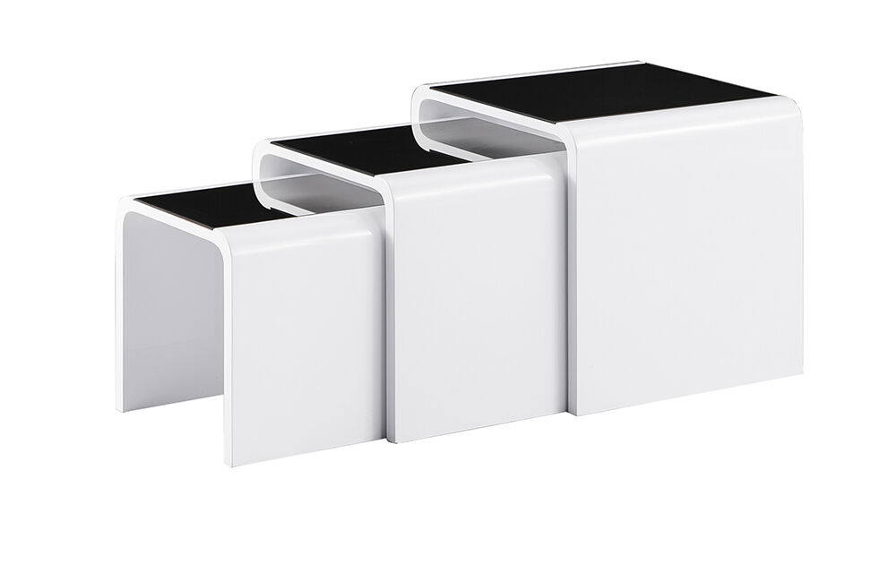 Black Glass Side Table: HIGH GLOSS NEST OF 3 COFFEE TABLE SIDE TABLE WHITE COLOUR