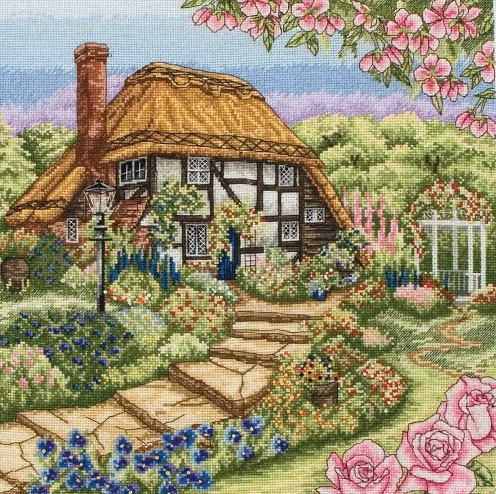 Anchor counted cross stitch kit rose cottage pce944 for Rose cottage