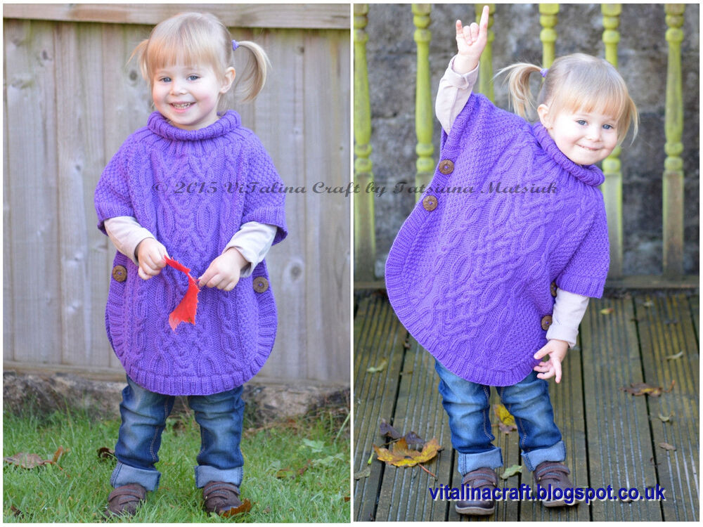 Child S Poncho Knitting Pattern : Knitting pattern cable fantasy poncho toddler and child