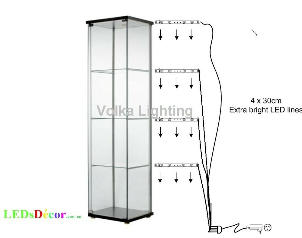 Glass display cabinet lights cool white ebay mozeypictures Gallery