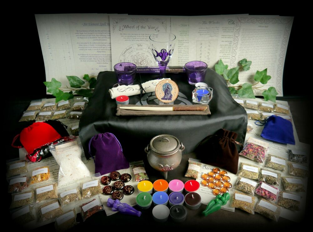 Witches Starter Altar Set Herb Kit Wicca Pagan Wand Chalice