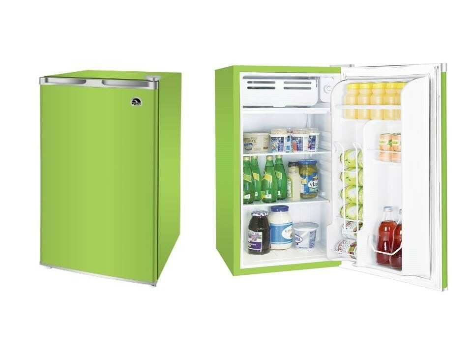 3 2 cu ft mini fridge refrigerator in lime fr320i for 0 1 couch to fridge