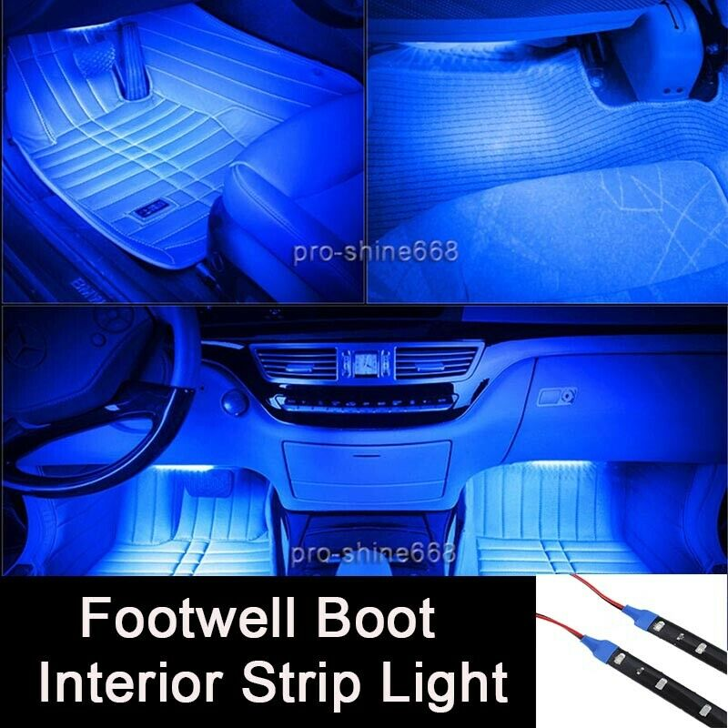 12 blue 12smd led interior exterior strip footwell dash for Ambient lighting interior design