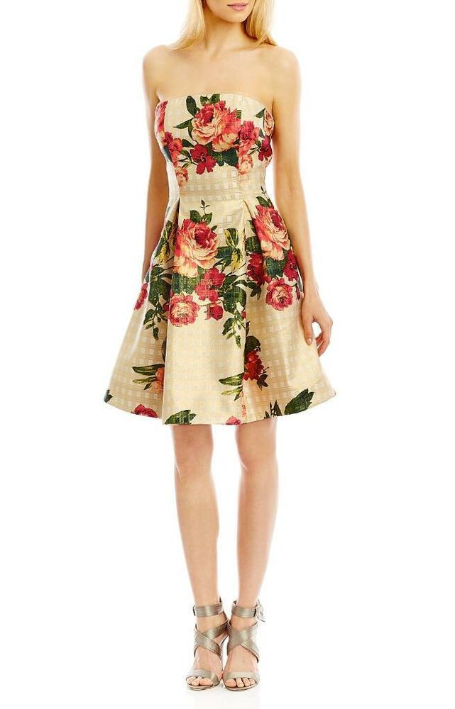 e4e8bb54fa93 Details about NWT Nicole Miller New York Gold Strapless Floral Print Dress 6