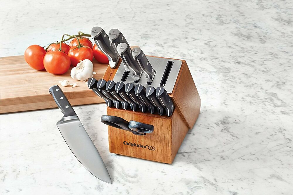calphalon classic self sharpening cutlery knife block set free super fast ship ebay. Black Bedroom Furniture Sets. Home Design Ideas
