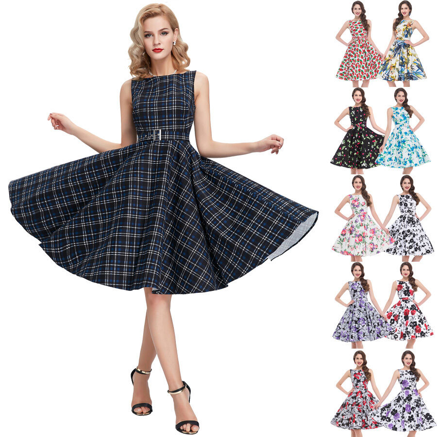 50 39 s 60 39 s prom dress vintage style swing pinup retro housewife party tea dress ebay. Black Bedroom Furniture Sets. Home Design Ideas
