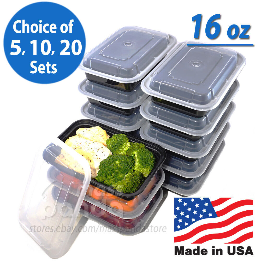 16oz Meal Prep Food Containers With Lids Reusable
