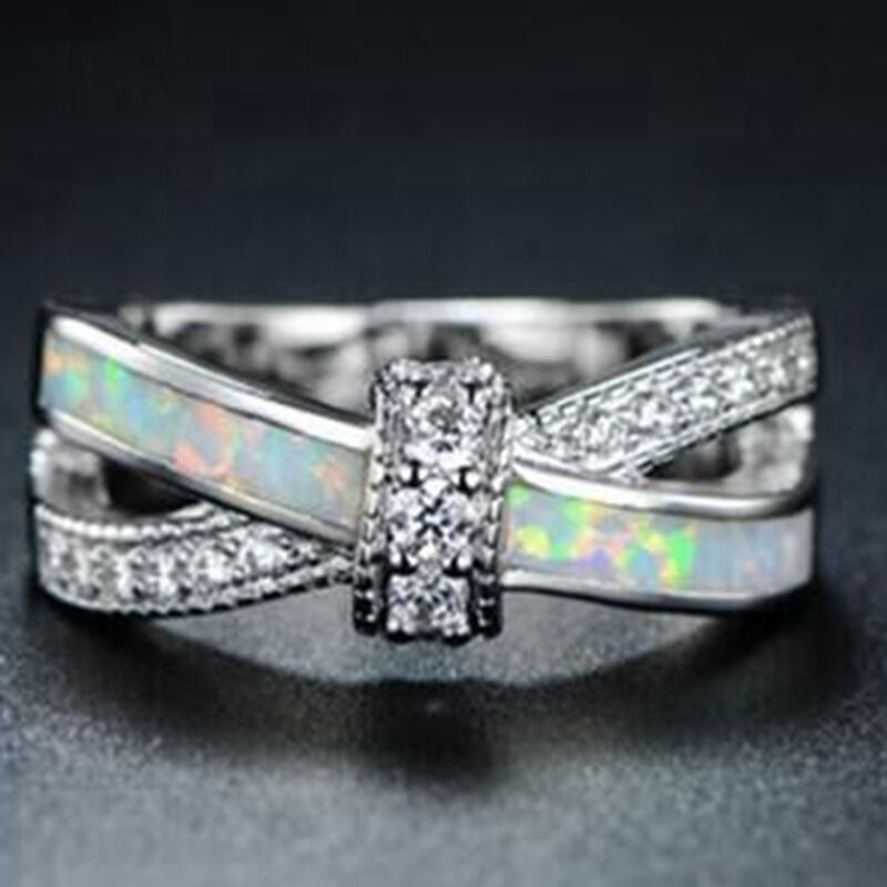 Size 4 12 australian fire opal wedding engagement ring 925 for Australian wedding rings