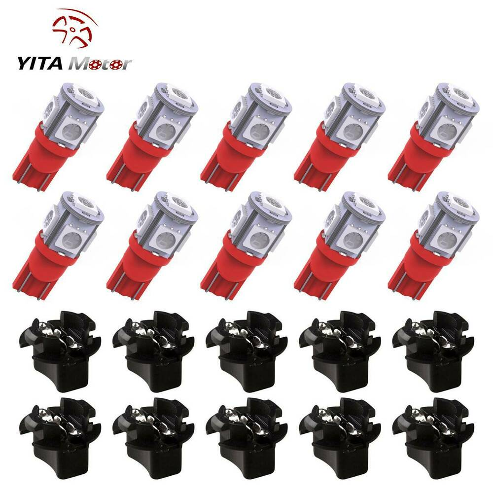 10x T10 Red PC194 LED Bulb Instrument Panel Cluster Dash