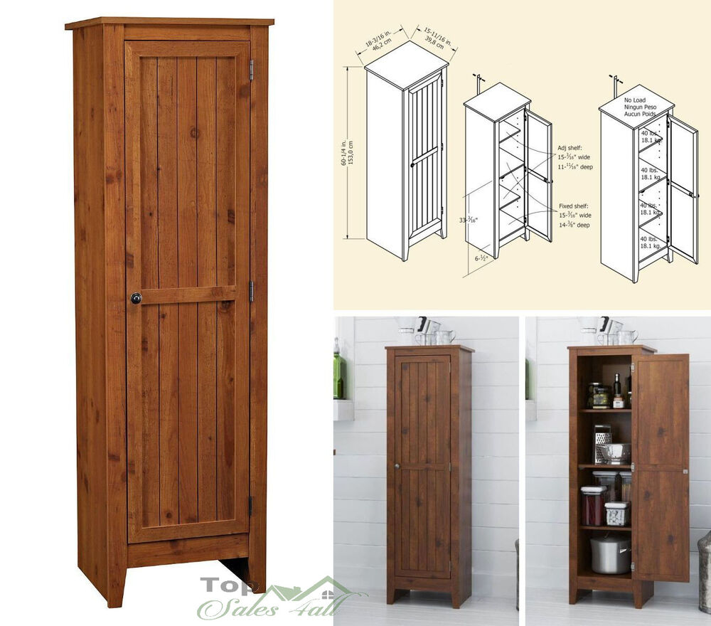 Kitchen pantry cabinet storage organizer wood shelves cupboard tall furniture ebay - Bathroom pantry cabinets ...