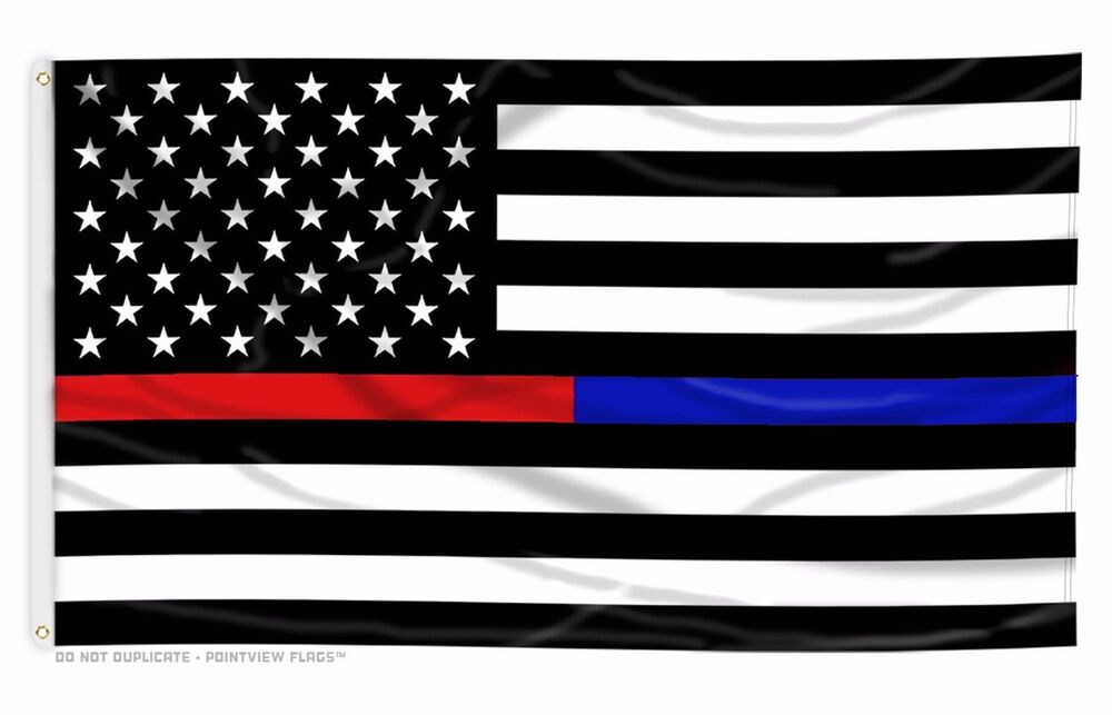 Thin Blue Line American Flag >> USA Thin Blue Line and Red Line Law Enforcement Police Fire EMS HEROS 3'x5' Flag | eBay