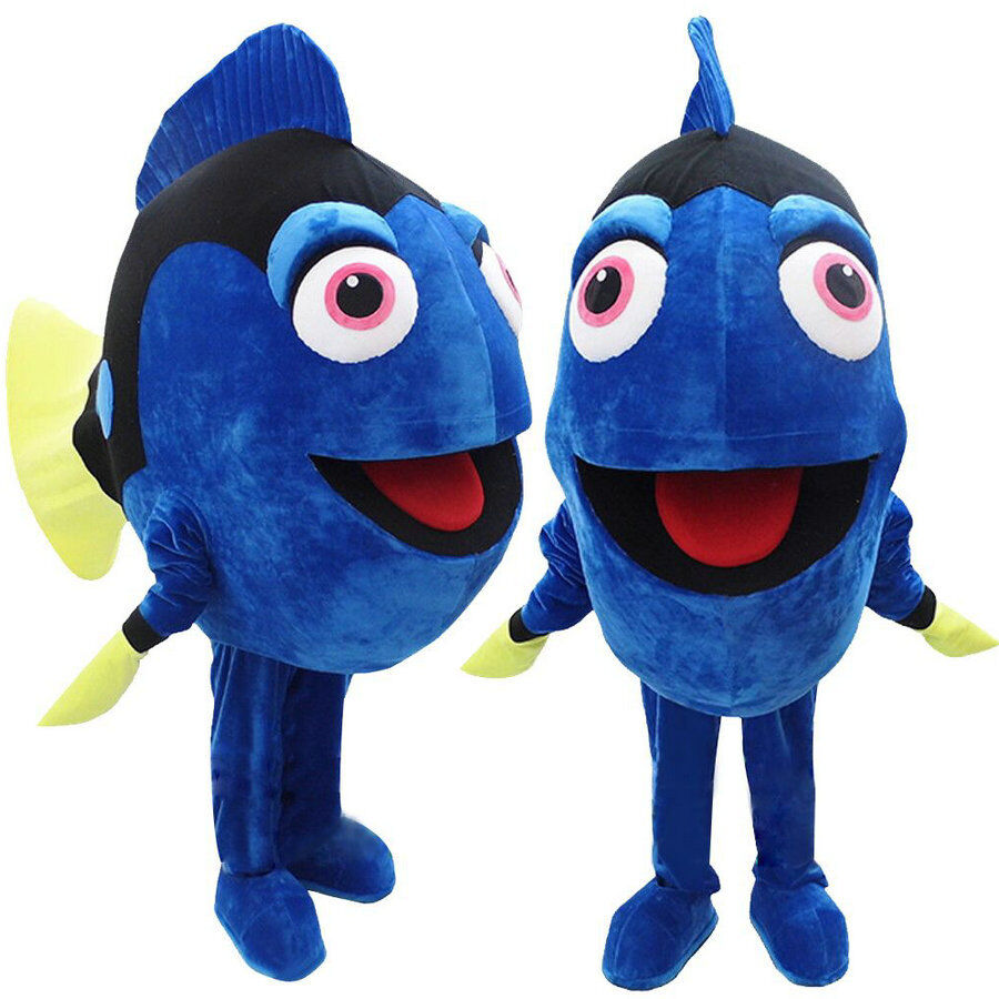 Dory the blue fish mascot costume from finding nemo for Fish costume for adults