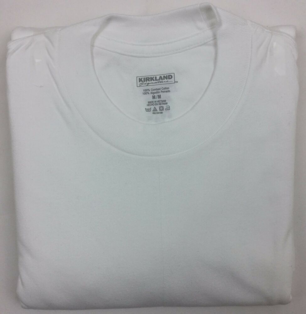 Kirkland black t shirts xl - New Men S Kirkland Signature Crew Neck Cotton T Shirt 3 Pack White Many Sizes Ebay