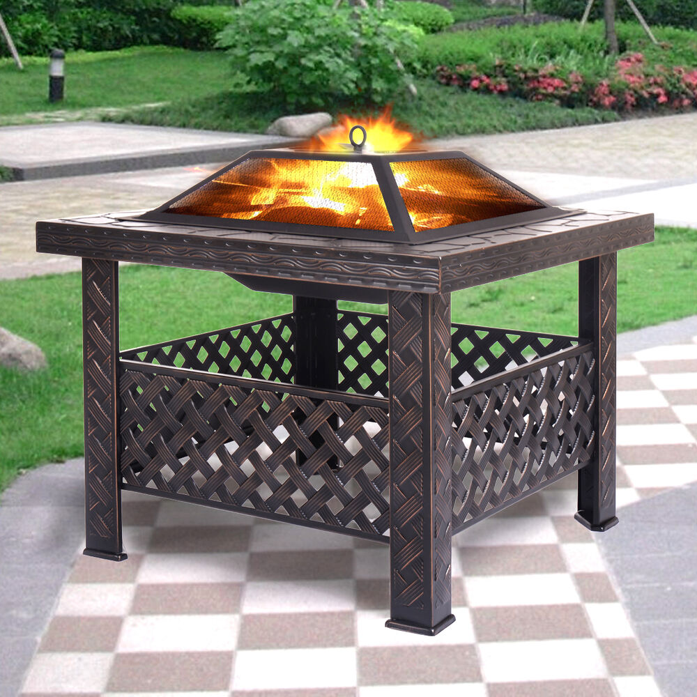 Outdoor 26 Quot Metal Firepit Patio Garden Square Stove Fire