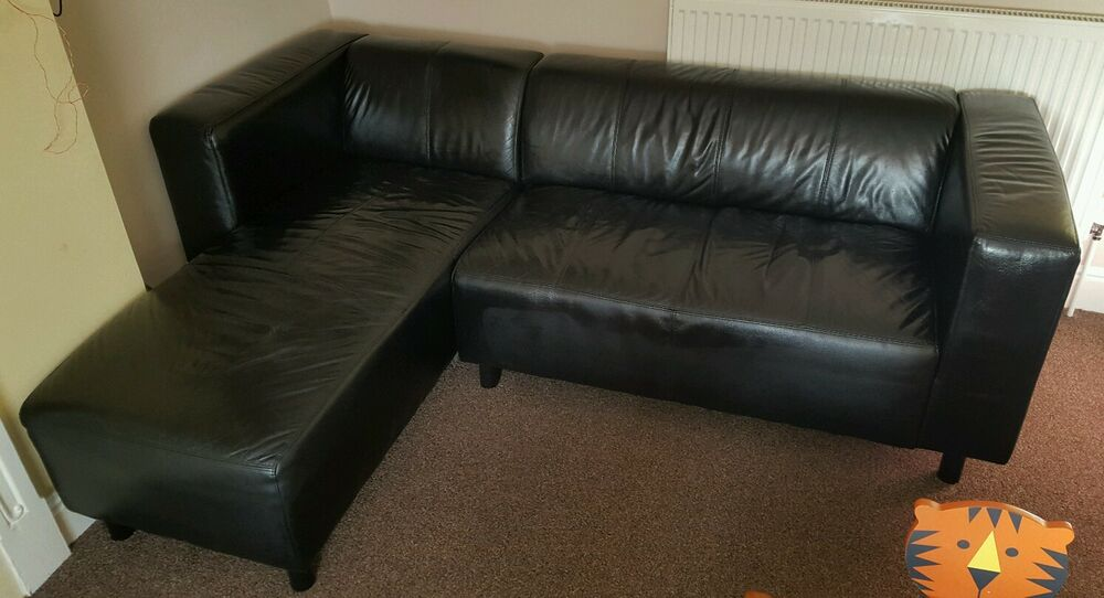 Black Leather Corner Sofa EBay