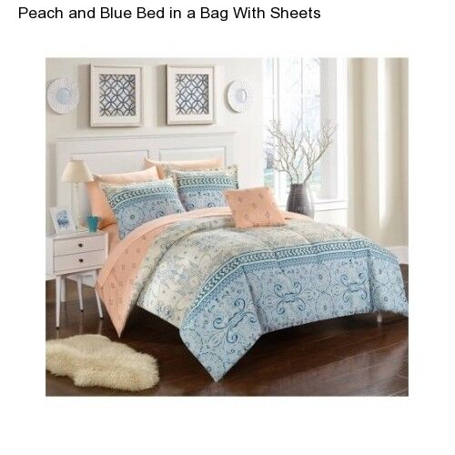 8 Piece Full Size Comforter Set Peach Bedspread Sheets