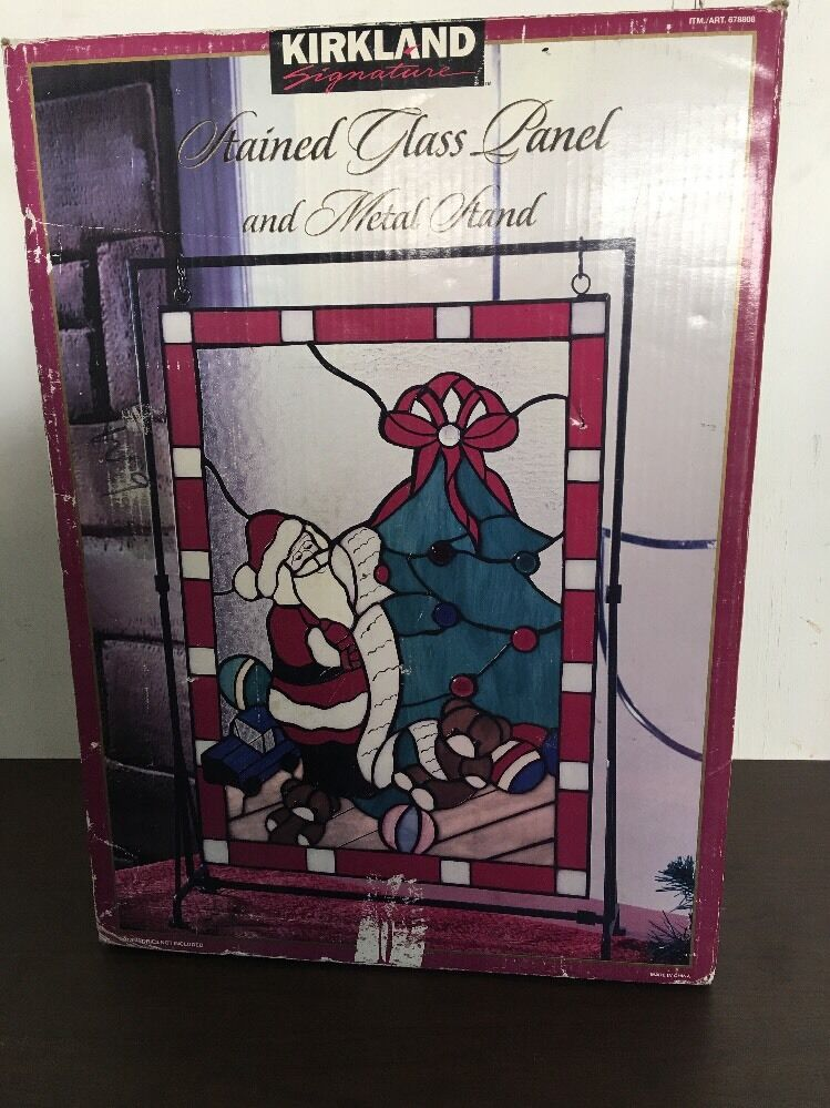 Kirkland stained glass panel and metal stand christmas