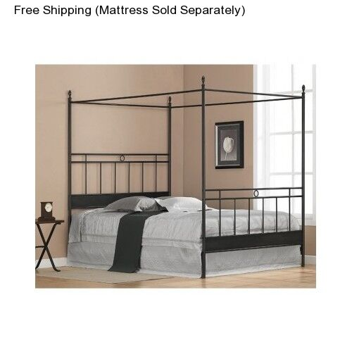 Four Poster Bed Frame Full Size Canopy Metal Black Bedroom