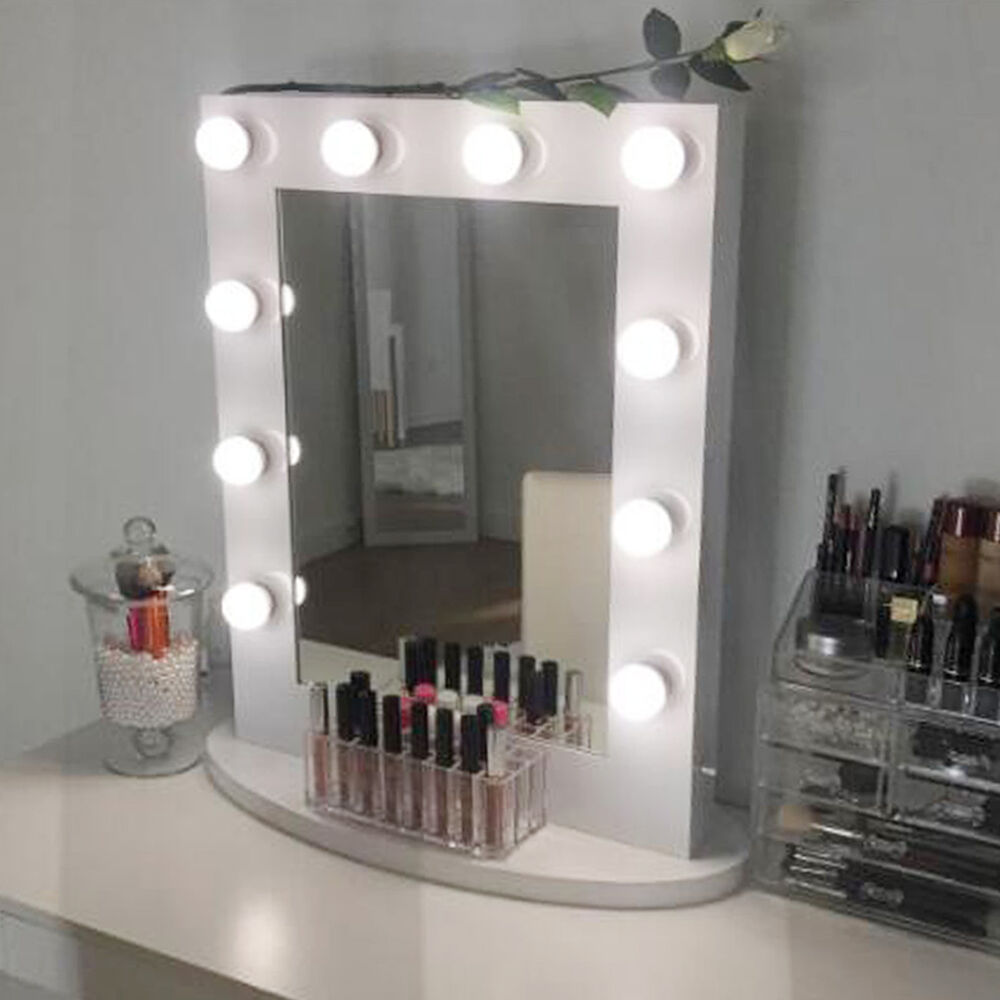 White Hollywood Makeup Vanity Mirror With Light Aluminum Mirror Christmas Gif