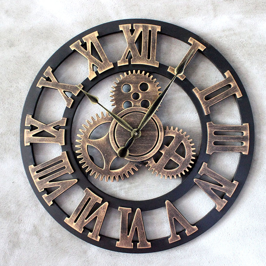 vintage wanduhr holz quarzuhr r mische zahlen uhr zahnrad design 45cm golden ebay. Black Bedroom Furniture Sets. Home Design Ideas
