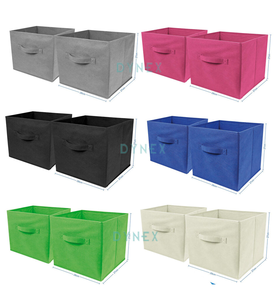 2 x large foldable square canvas storage box collapsible fabric cubes kids home ebay. Black Bedroom Furniture Sets. Home Design Ideas